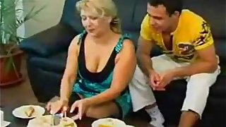 Mom and Son playing with food