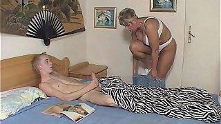 Horny Mama Fucks Skinny Boy