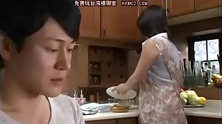 Japanese mom and Son in bathroom