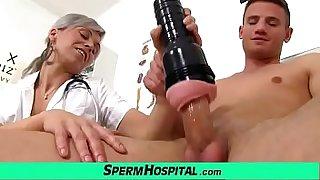 MILF boy handjob feat. Czech MILF nurse Beate